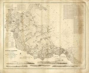 1857 Boston Harbor Mass. US Coast Survey chart Coastal Nautical Map Wall Poster