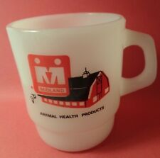 FIRE KING MIDLAND Animal Health Products Barn advertising mug cup stackable