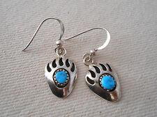Turquoise Dangle Earrings 191902 Vintage Southwest Sterling Bear Paw