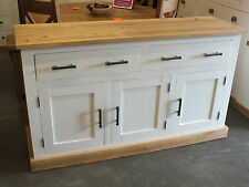 SHABBY CHIC PAINTED 3 DOOR SIDEBOARD CABINET HAND MADE DISTRESSED ROUGH SAWN