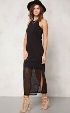 WOMENS MAXI DRESS SLEEVELESS BLACK BODYCON LONG SCOOP NECK LACE  PLUS SIZE 18 20