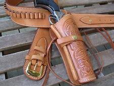 """Gun Belt - Cartridge- with 8"""" Tooled Holster Combo- . 38 Caliber- Natural"""