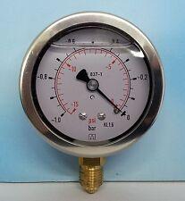 """VACUOMETRO -1,0BAR CON GLICERINA CASSA INOX CLASSE 1.6 VUOTOMETRO D.63 mm 1/4"""""""