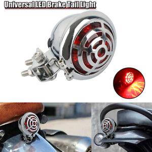 Red Motorcycle Chrome LED Rear Stop Brake Tail Light Lamp For Harley Cafe Racer