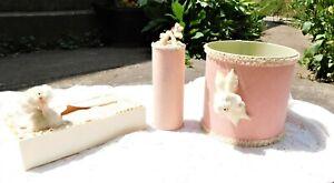 Vintage 1950's Pink White homemade Poodle Three Piece Bathroom Set