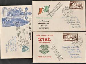 IRELAND 1958 3FDCs, Dublin.