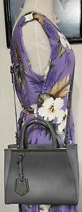 Fendi Petite 2Jours Elite Gray Leather 2Way Shopper Crossbody Handbag