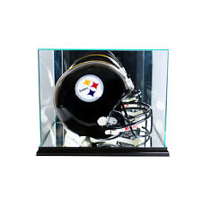FULL SIZE GLASS FOOTBALL HELMET DISPLAY CASE UV PROTECTION BLACK WOOD - MIRROR