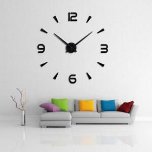 Large 3d Wall Clock Home Decor Room Modern Mirror Design Decorative Sticker Diy