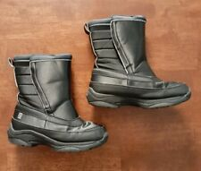 Lands End Youth Boys Snow Boots Size 2 Black Waterproof Insulated