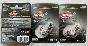 3 packs (18 hooks total) Berkley Fusion 19 Octopus Fish Hooks size 4/0