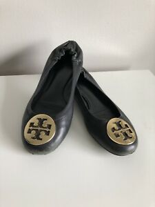 TORY BURCH Reva Ballet Flats Black Leather Women's Size 6.5