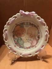 "1992 Precious Moments Plate With Ribbon "" Sharing the Gift of Friendship """