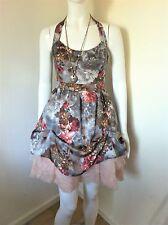 Ladies River Island Puffball Net Prom Halter Neck Party Dress UK8