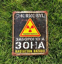 Chernobyl zone, Danger sign, Vintage Look Radioactive, Warning Sign