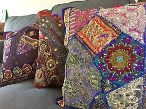 Cushion cover Recycled Sequin Patchwork Indian 16 x 16 40 x 40 hippy ethnic boho