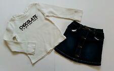 Gymboree Alpine Sweetie Girls Chocolate Shirt Denim Skirt Blue Jean Heart Size 5
