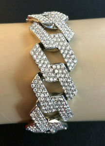 "Silver Miami Cuban Chain Bracelet Ice Crystal Pave 16mm Box 8"" Plated #1167"