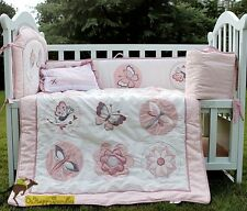Baby Girls 5 Pieces Pink Butterfly Cotton Nursery Bedding Crib Cot Sets