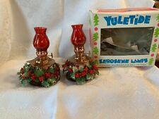 Vintage Christmas Yuletide Kerosene Lamps Set Of 2 Mini Lamps In Box ~ Hong Kong