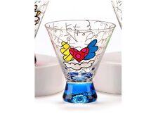 ROMERO BRITTO SHORT MARTINI GLASS: BLUE BASE ** NEW ** GIFT BOXED