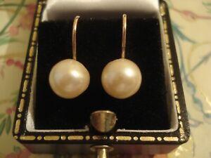 Pretty Vintage 1950's 9CT Gold: 8mm Lustrous Genuine Pearls Screw-On Earrings