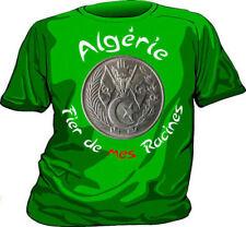 "Superbe T-shirt vert  ALGERIE ALGERIA ""Fier de mes Racines"""