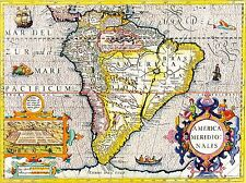 CLEMENT CRUTTWELL MAP SOUTH AMERICA VINTAGE POSTER ART PRINT 12x16 inch 2883PY