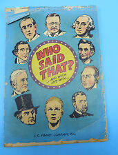 Vintage 1951 J.C. Penney Co. Educational Comic Book - Who Said That?