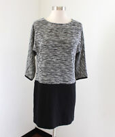 Ann Taylor Loft Black White Tweed Contrast Shift Dress Size 2P P2 Womens