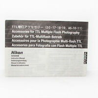 Nikon Accessories for TTL Multiple Flash Photography SC-17-18-19 AS-10-11 Guide