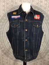 RALPH LAUREN POLO JEANS DENIM SLEEVELESS VEST Jacket Gilet Patches Large L Mens