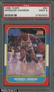 1986 Fleer Basketball #54 Marques Johnson Los Angeles Clippers PSA 9 MINT