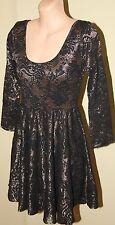 Womens Gorgeous Black and Gold Party Dress - Shona Joy - Size 6