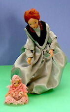 Miniature Pair of Dolls House Porcelain Dolls~Victorian Mother and Baby 1:12