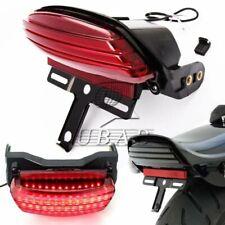Tri-Bar Fender LED Tail Light License Plate Bracket For Harley Softail FXST #K
