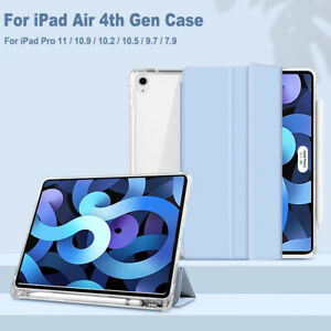 For iPad Air 4 10.9 Pro 11 8th 10.2 7th 6th PU Smart Case Stand With Pencil Slot