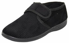 Mens Outdoor Corduroy Style Slippers Padded Diabetic Friendly Low Top Shoe Black UK 9 / EU 42