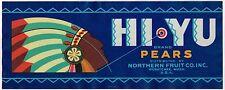 CRATE LABEL VINTAGE INDIAN CHIEF ART DECO HI-YU WAR BONNET BLUE PEARS 1930S