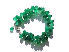 Grünachat Tropfen fac. Armband 19,5-22 cm 925 Silber Green Onyx Bracelet Nr 3646