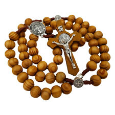 Olive Wood Rosary Beads Catholic Necklace Saint Benedict Medal & Cross Crucifix