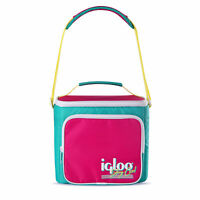 Igloo 90s Retro Collection Square Neon Lunch Box Soft Side Cooler Bag with Strap