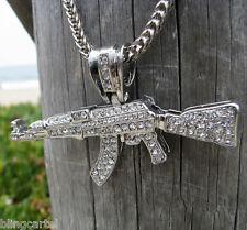AK-47 Assault Gun Rifle Charm Iced-Out Pendant Silver Tone AK47 Men Franco Chain