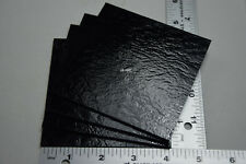 """4 PIECES OF BLACK 4"""" x 4"""" BULLSEYE 3mm THICK GLASS 90 COE FUSIBLE SQUARES TILES"""