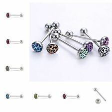 Stainless Steel Tongue Bar Ring 6PCS Barbell Bar Leopard Grain Jewelry