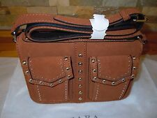 Zara  Brown Leather Studded  Messenger Bag RRP £70 BNWT