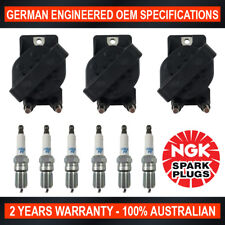 6x NGK Spark Plugs & 3x Ignition Coils for Holden Commodore VS VT VY VX 3.8L