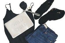 NEW SILVER CLUTCH BAG POM POM MISS SELFRIDGE Faux Leather evening blogger zip