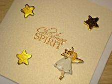 CHRISTMAS SPIRIT GREETING CARD MERRY XMAS GIFT ANGEL GOLD STARS HANDMADE BLANK