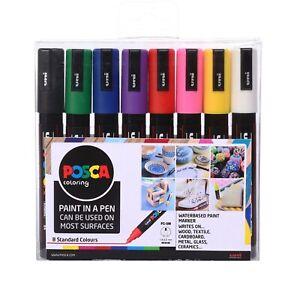 Uni POSCA Paint Markers PC-5M Bullet Tip Set of 8 Standard Colours